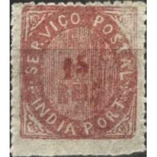 ÍNDIA, 1875, NATIVOS, CE#24, 15 r., PAPEL AZULADO, MNG (2)