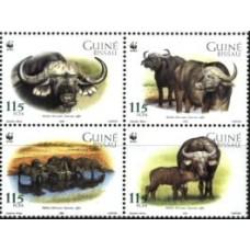 GUINÉ BISSAU, 2002, FAUNA WWF, BÚFALO, R#1730-33, MNH