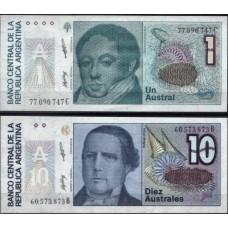 ARGENTINA - 2 NOTAS DIFERENTES, papel moeda bancária, UNC