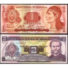 HONDURAS - 2 NOTAS DIFERENTES, papel moeda bancária, UNC