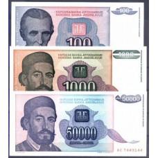 JUGOSLÁVIA - 3 NOTAS DIFERENTES, papel moeda bancária, UNC