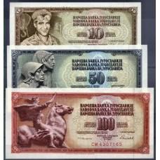 JUGOSLÁVIA - 3 NOTAS DIFERENTES, papel moeda bancária, UNC (1)