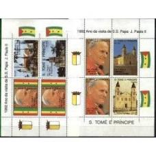 SÃO TOMÉ, 1992, VISITA S.S.PAPA J. PAULO II,YV#B.124-25; R#B.284-85 , SS, MNH