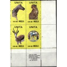 ANGOLA, SÉRIE DA UNITA, FAUNA, 4 V., MNH