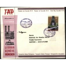 TAP, 1963, 1º VÔO LISBOA-GENEBRA-MUNIQUE, CARAVELA VI-R (TAP196302)